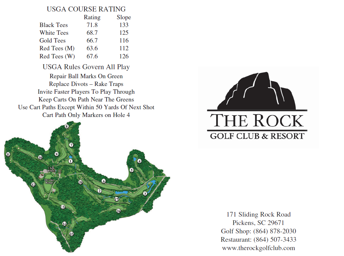 The Rock Golf Club Scorecard front